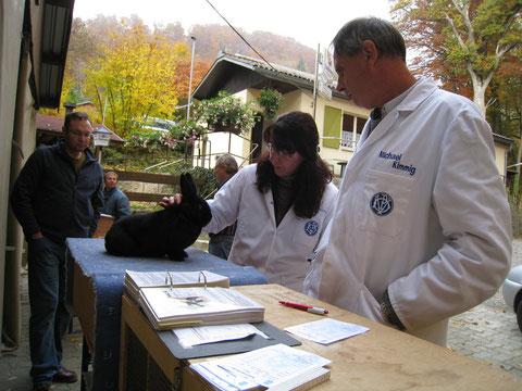 Manuela und Micheal Kimmig bei der Kaninchenbewertung