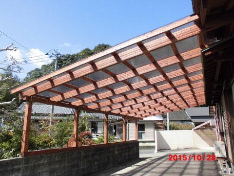 駐車用のテラス屋根(佐伯市、T様邸)