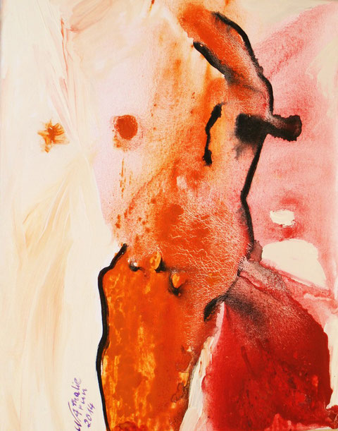 """healing dancer"", Tusche, Tempera, Acryl auf Leinwand, B 40 cm H 50 cm © Nathalie Arun 2014"