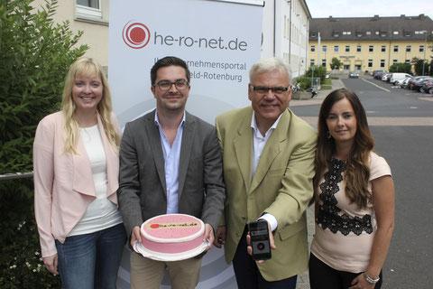 Bringen he-ro-net-de auf den Weg: Von Links: Johanna Sick, Tobias Binder, Bernd Rudolph und Ivonne Teichmüller Bildquelle: Hersfelder Zeitung, Lasse Deppe