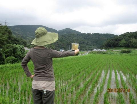 お米プロジェクトDVDを持ってポーズのIさん。宮崎駿の世界か大好きとのこと。雰囲気デス。