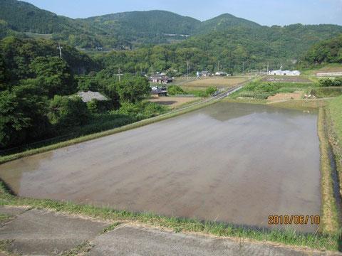 田植え3日前の田圃、当日は梅雨に入りそうだ。
