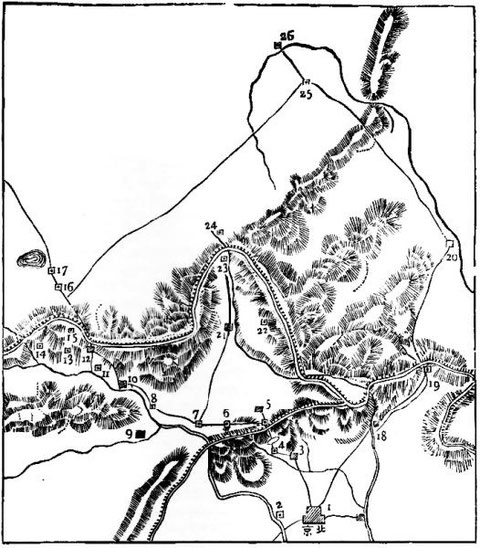 Routes de Kambalick à Chang-tou. (Dr Bushell.)
