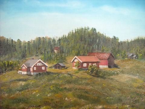 Gemälde von Sylvia Nilsen 1991:   Der alte Hof von Espetveit