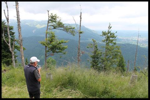 Blick vom Rauchenberg-Gipfel in den Isarwinkel
