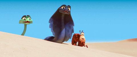 Des serpents et un scorpion, héros d'un road-movie dans le désert (©La Station Animation/StudioCanal).