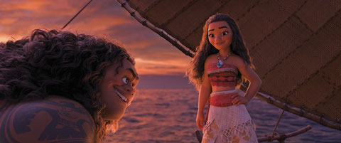 Maui le demi-dieu sympa va aider Vaiana la jolie ado polynésienne à sauver son peuple (©The Walt Disney Company).