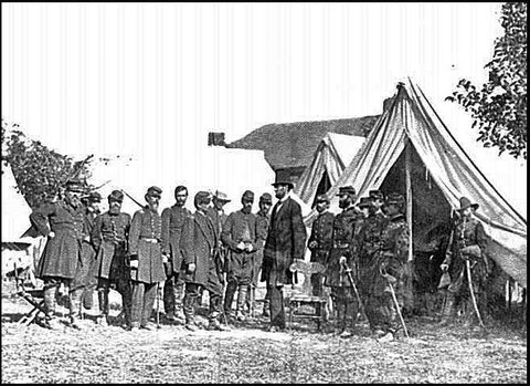 President Lincoln with Gen. George B. McClellan and group of officers. [October 3, 1862]