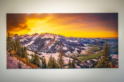 Alpsteinpanorama hinter Acrylglas zum Aktionspreis