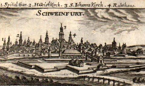 Südansicht von Schweinfurt - Christoph Rieger - Kupferstich 1690