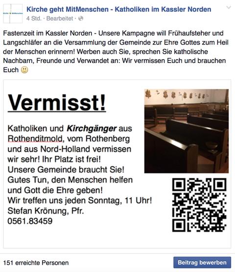Wir suchen Kirchgänger! Tastenaktion 2015 am Rothenberg in Kassel