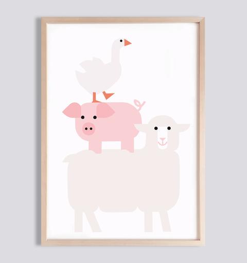 Kinderposter Tiere Bauernhof fürs Kinderzimmer . Julia Matzke . Illustration . Bilder für Kinder