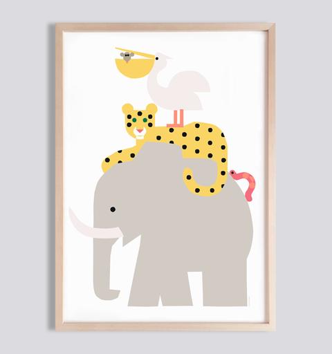 Kinderposter Tiere Savanne fürs Kinderzimmer . Julia Matzke . Illustration . Bilder für Kinder