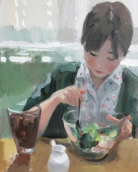 サラダボール 油彩 3号(描画中)