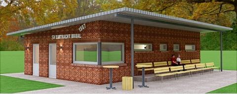 Unmittelbar neben dem alten Gebäude des SV Eintracht Brual sollen neue Umkleide- und Sanitärräume entstehen. Damit will der Verein den immer größeren Platzbedarf bei mehreren Sportgruppen gerecht werden.