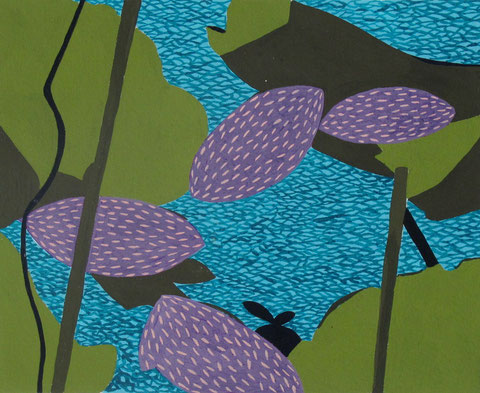 Lotus J2. Gouache sur papier. 50x40 cm. 2012.