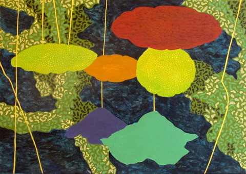 Lotus parapluie 2. Acrylique sur toile. 8P (46x33 cm). 2012.Collection particulière.