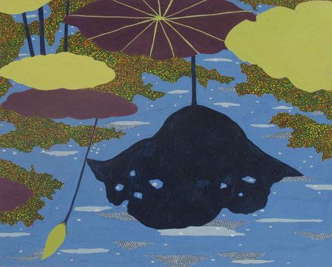 Lotus parapluie 4.Gouache sur papier.30x24 cm. 2012.