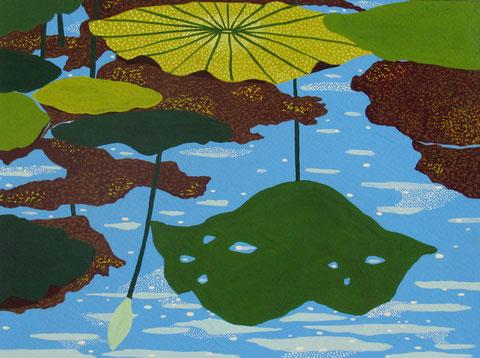 Lotus parapluie 3.gouache sur papier. 24x18 cm. 2012.