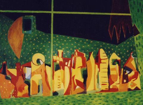 Fenêtre d'atelier épicé.1999.Huile sur toile. 81X60cm.Collection privée.