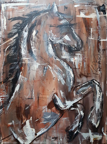 Original Kunstwerk, Unikat, Bildtitel: Pferd ABSTRAKT No.2, Acryl auf XL Leinwand, 60 x 80 cm