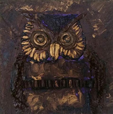 Original Kunstwerk, Unikat, Bildtitel: Eule, Mixed Media auf XL-Leinwand, 30x30 cm