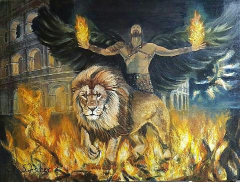 Original Kunstwerk, Unikat, Bildtitel: Lion, Acryl auf XL Leinwand, 60x80 cm