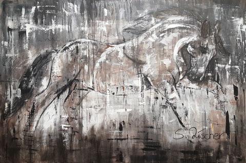 Original Kunstwerk, Unikat, Bildtitel: Pferd ABSTRAKT No.3, Acryl auf XL Leinwand, 120 x 80 cm, -bereits vergeben