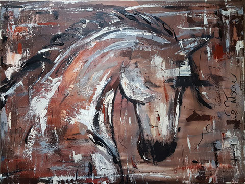 Original Kunstwerk, Unikat, Bildtitel: Pferd ABSTRAKT No.1,  Acryl auf XL Leinwand, 60 x 80 cm