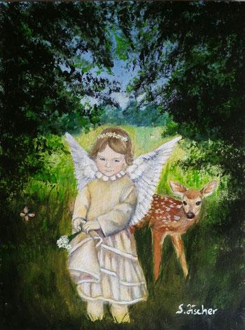 Original Kunstwerk, Unikat, Bildtitel: Schutzengel der Tiere,  Acryl auf Künstlerpapier, 30x40 cm, Format inkl. Passepartout 40x50 cm