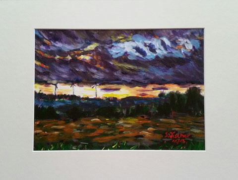 Original Kunstwerk, Unikat, Bildtitel: Dein Tag! Acryl auf Künstlerpapier, Format inkl. Passepartout 30x40 cm