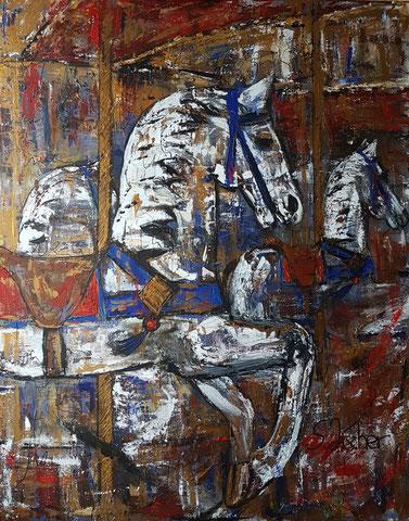Original Kunstwerk, Unikat, Bildtitel: Karussell-Fahr mit oder spring ab!  Mixed Media auf XL-Leinwand, 100x80 cm