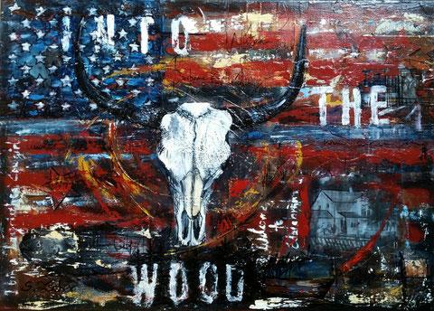 Original Kunstwerk, Unikat, Bildtitel: Into the Wood, Mixed Media auf Leinwand, 50x70 cm  - bereits vergeben