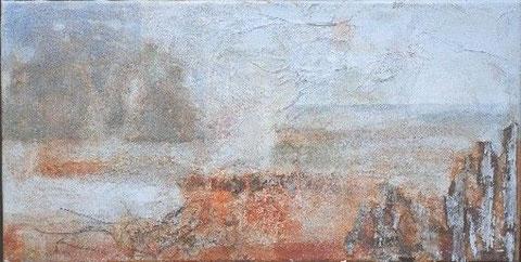 Retreat 1, 2005 _____ 40x80 Acryl, Papier, Sand, Rinde auf Baumwolle