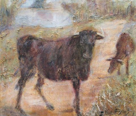 Schwarze Stiere der Camargue, 08/2007 _____ 60x70 Acryl, Papier, Sand, Heu, schwarze Lava auf Baumwolle