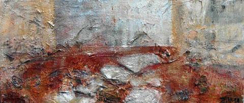 Retreat 2, 2011          30x70 Acryl, Papier, Sand, Rinde auf Baumwolle