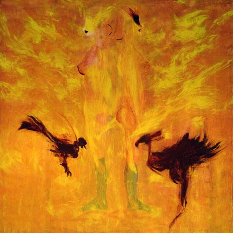 Damen- und Hahnentanz, Acryl auf Leinwand, 140 x 140 cm, 2007