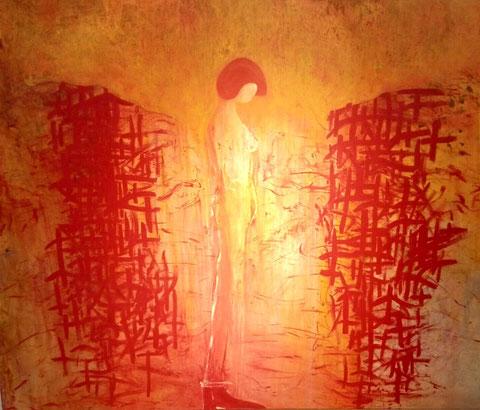 Empfindung außerhalb des Körpers, Acryl auf Leinwand, 200cmx 160cm, 2000