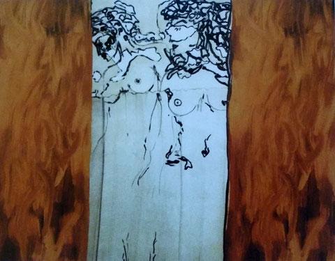 Heroische Frauen scheuen das Feuer nicht, Acryl auf Leinwand, 140 x 140 cm, 1996