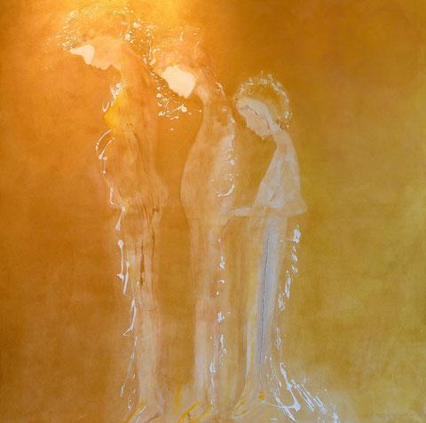 Wohlbolde auf dem Weg, Acryl auf Leinwand, 140 x 140 cm, 2015