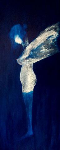 Blaue Strümpfe, Acryl auf Leinwand, 80 x 180 cm, 2013