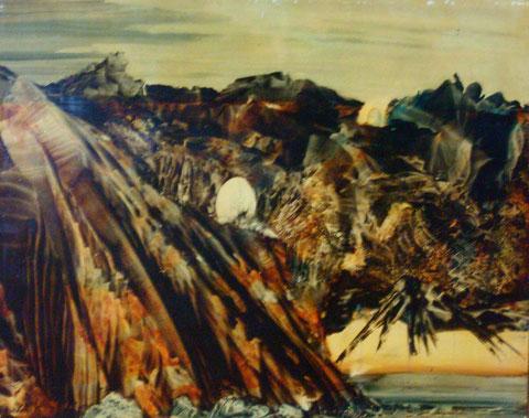 l'oeuf cosmique-huile sur carte-50x65-1974