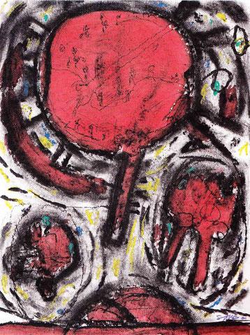 """aus der Reihe """"Plätze"""", Mischtechnik auf Papier, 1991"""