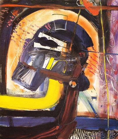 """""""Bleitzeit N. 4"""", 1981 aus der Reihe """"Tunnelbilder"""", Öl/Nessel"""