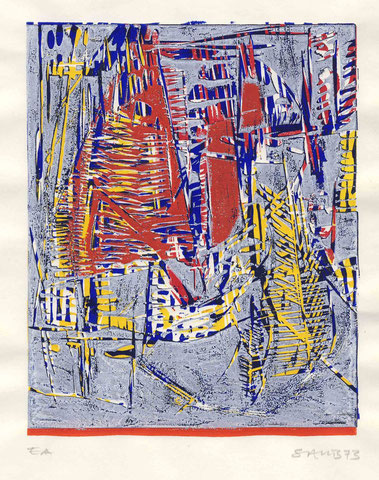 Linolschnitt Farbsegeln 1973
