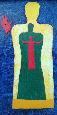 """SAS_13-05 """"Christus in mir und ich in Christus""""  nach Joh. 15,4  (244 x 122 cm)"""