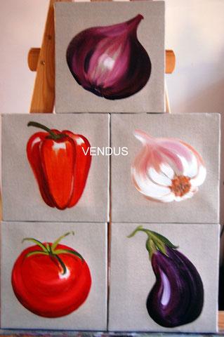 Légumes, huiles sur lin brut 20x20, 2008 (vendus)