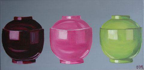Bols japonais, huile sur toile 30x60, 2009 (vendu)