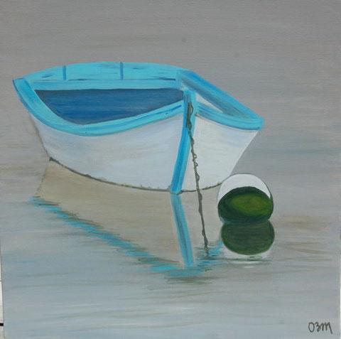 La barque, huile sur toile 60 x60, 2010 (vendu)