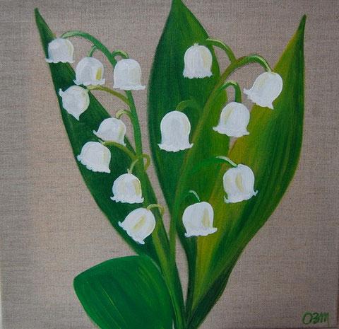 Muguet, huile sur toile 40 x40, 2010 (vendus)